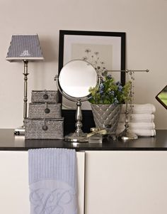 Lene Bjerre - SPRING 2013. ALETTE lamp with MONOGRAM STRIPE shade, ASTRID mirror, KAMILLA basket set and PRECIOUS flower pot.
