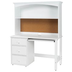 White Kids Desk student desk with hutch by maxtrix kids (shown in white) WGDWDHC - Home Decor Ideas Girls White Desk, White Desk With Hutch, Desk With Drawers, White Desks, Wooden Living Room Furniture, Leather Dining Room Chairs, Kids Bedroom Furniture, Furniture Redo, Furniture Design