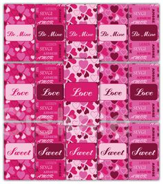 PINK Mini CHOCOLATE Bar WRAPPERS Printable  Valentine's by Siskale