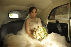 Waiting in the bridal car