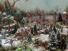Beautiful painted back round idea for a Dickens or New England Village