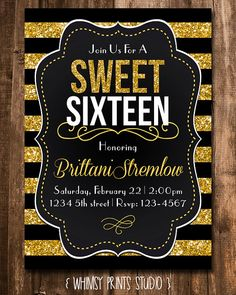 Hey, I found this really awesome Etsy listing at https://www.etsy.com/listing/181565083/sweet-16-birthday-invitation-gold