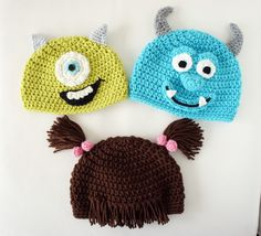 Monsters Hats, Mike, Sulley, Boo, Crochet Monster Hat Inspired by Monsters Inc Diy Tricot Crochet, Crochet Mignon, Bonnet Crochet, Cute Crochet, Crochet Crafts, Yarn Crafts, Crochet Projects, Crochet Monster Hat, Crochet Monsters