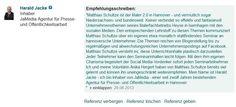 Tolle Referenz eines Teilnehmers erhalten #SocialMediaManager #Hannover