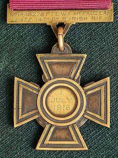 The reverse side of Ulsterman, Pte WF McFadzean's Victoria Cross