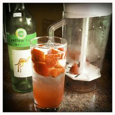 """OMG yumm!!! So simple! 1 can frozen pink lemonade + 4 cups Sprite + berries + Moscato. (The kids love the """"Summer Spritzer"""" sans Moscato.)"""