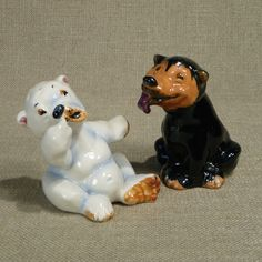 Josef Originals Polar Bear & Black Sun Bear Salt Pepper Shakers Comical Pair