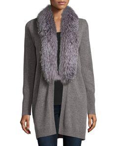 Cashmere Fox Fur Collar Cardigan