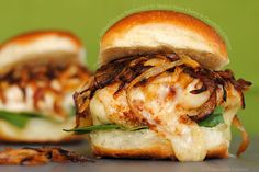 Grilled Chicken Sandwiches with Melted Swiss Cheese and Caramelized Onions