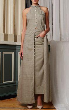 NY Fashion Week Rosie Assoulin Spring 2015 Trunkshow Look 15 - Merino Silk Check Pocket Skirt and Merino Silk Check Vandam Top