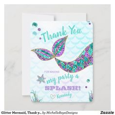 Mermaid Under The Sea, Under The Sea Party, 2nd Birthday Party Themes, Birthday Balloons, 12th Birthday, Birthday Parties, Birthday Thank You Cards, Birthday Greeting Cards, Mermaid Invitations