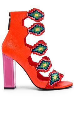 KAT MACONIE Thea Heel in Vivid Coral & Multi | REVOLVE