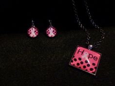 Hope Breast Cancer Ribbon 36 inch necklace with matching earrings by VeteransGoCrafty on Etsy