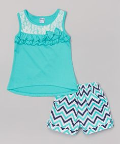 Look at this #zulilyfind! Teal Ruffle Tank & Zigzag Shorts - Toddler & Girls by G&J Relations #zulilyfinds