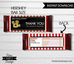 Hollywood Birthday Party Printable Chocolate Wrappers by Fara