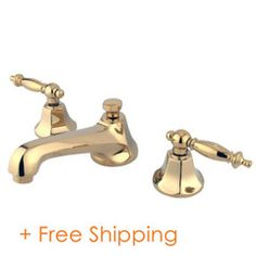 "Kingston Brass Metropolitan Two Handle 8"" to 16"" Widespread Lavatory Faucet with Brass Pop-up Polished Brass KS4462TL"