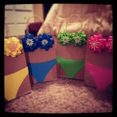 Haha cute way to decorate the bags that you give a gifts at bridal shower, lingerie shower or bachelorette party