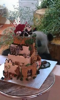 Fascinating cake made of bamboo and honey...huh?! -- (IDEA: Use frosted animal crackers for Noah's Ark cake / cupcakes. Love the panda in background!! - / B.)