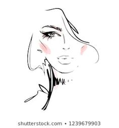 Similar Images, Stock Photos & Vectors of Young Woman face. Vector - 596544443 : Similar Images, Stock Photos & Vectors of Young Woman Face Vector - 596544443 Oil Painting Pictures, Pictures To Paint, Face Sketch, Drawing Sketches, Fashion Illustration Sketches, Illustration Art, Art Minimaliste, Female Face Drawing, Small Canvas Paintings