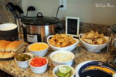 Fun idea for a viewing party: Super Simple Chili Bar.  Set out anything people might like to eat with their chili, or top, such as chips, chopped onions, potatoes, hot dogs, etc.  I like to put out corn muffins and lime wedges for a Southwestern flair. The possibilities are endless.