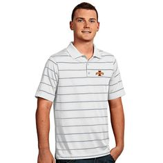 Men's Antigua Iowa State Cyclones Deluxe Striped Desert Dry Xtra-Lite Performance Polo, Size: Small, Natural