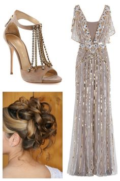 Silver and Gold formal dress TEMPERLEY LONDON Sequin Gown and Casadei Suede Sandal