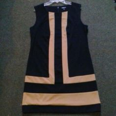 NWT black & tan color block knit sleeveless dress Allen B. NWT sleeveless knit color block dress Dresses