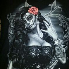 Lady of the night Chicano Tattoos, Body Art Tattoos, Girl Tattoos, Sugar Skull Artwork, Sugar Skulls, Caveira Mexicana Tattoo, Marilyn Monroe Artwork, Day Of The Dead Girl, Cholo Art