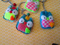 Owl Plush Felt and Fabric Key Chain - Cute Owl - Felt Key Chain. $9.00, via Etsy.