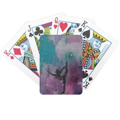 """Standing Leg Stretch YG - Poker Playing Cards Dimensions: 2.5"""" x 3.5""""; poker size playing cards Easy to shuffle, durable semi-gloss cards 52 playing cards, 2 Jokers per deck Comes with standard Bicycle cardboard case"""