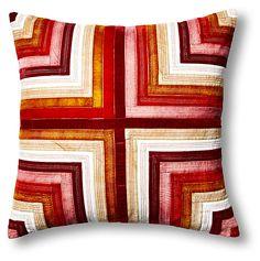 Ribbon 22x22 Velvet Pillow, Red/Pink   Designer Spotlight   One Kings Lane
