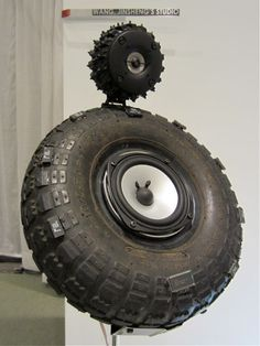 I could see putting these recycled tire speakers in a man cave.