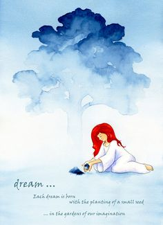 Dream art giclee print  watercolour follow your by Tarawinona, £15.00