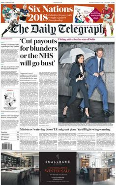 Daily Telegraph front page - Newspaper Cover, Newspaper Headlines, Finsbury Park, The Daily Telegraph, Six Nations, Politics, How To Plan, Postcards, Blog
