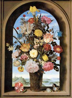 bosschaert - vase avec fleurs sur une fenetre 1618 mauritsuis.jpg (589×800)  Амброзиус Босхарт