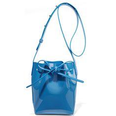 Mansur Gavriel Mini Mini patent-leather bucket bag ($345) ❤ liked on Polyvore featuring bags, handbags, shoulder bags, azure, white crossbody handbags, cell phone purse, shoulder strap bags, bucket bags and white handbags