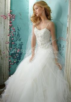 Ball Gown Scoop Dropped Floor Length Sweep Spaghetti Straps Wedding Dress 9050