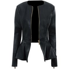 'Delfina' Black Leatherette Peplum Jacket ❤ liked on Polyvore featuring outerwear, jackets, coats, leather jacket, coats & jackets, pu leather jacket, peplum jacket, delfina, pleather jacket and leatherette jacket