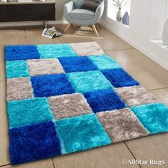 Allstar Blue/ Aqua Blue Geometric Cube Thick High Pile Rug X Size x (Polyester) High Pile Rug, Rug Size Guide, Contemporary Area Rugs, Area Rug Sizes, Online Home Decor Stores, Online Shopping, Fashion Room, Rugs On Carpet, Carpets And Rugs