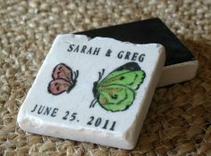 Save the date magnet - view the whole apple-green and pink colour scheme at http://themerrybride.org/2014/03/20/apple-green-and-light-pink-wedding/