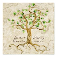 Family tree pull apart cupcakes by pastiche events chicago diy swirl tree roots antiqued family reunion invite stopboris Images