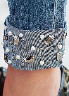 Surplice Top, Jeweled Cuffed Denim, Peep Toe Pump in Denim Fashion, Fashion Pants, Fashion Outfits, Fashion Top, Jeans Refashion, Lace Jeans, Denim And Diamonds, Diy Kleidung, Denim Ideas