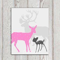 Pink gray little girls bedroom decor Nursery art poster print Printable Deer family Baby shower gift idea Custom colors INSTANT DOWNLOAD on Etsy, $5.00