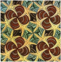 Escher art work tessellation. Love the colours and the construction of this!