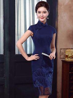 Embroidered lotus floral blue linen cheongsam Chinese mandarin collar dress QD5341-298-002