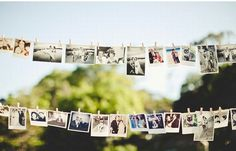 pictures on the clothesline instead of a movie slideshow thing, Love!