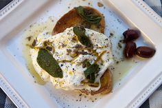 Italian Food Forever » Burrata Cheese On Toasted Bread With Anchovy & Lemon Dressing