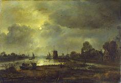 A River Scene by Moonlight, Aert van der Neer