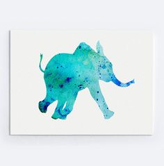 Turquoise Elephant Kids Print Colorful Animal by Silhouetown