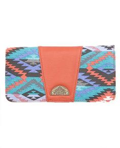BIG RIVER C'BOOK WALLET // black -  Fun checkbook wallet with geo printed canvas and PU trim.